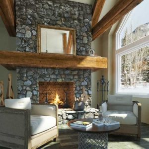 Fireplace Remodel: Stone fireplace